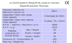 Especificaciones Tecnicas Centrifugadora Medigraft